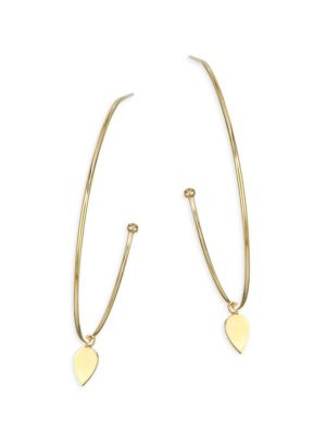 14K Yellow Gold Large Tear Hoops