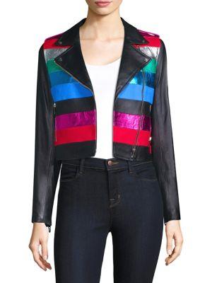 THE MIGHTY COMPANY Stripe Rainbow Leather Jacket