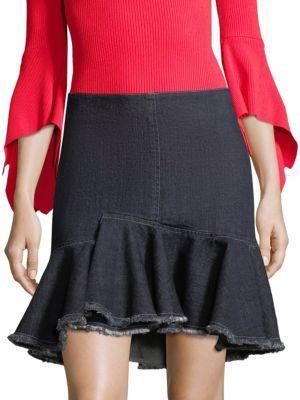 Ruffle Denim Mini Skirt