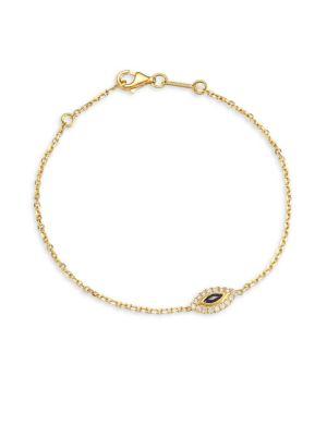 18K Gold & Diamond Sapphire Evil Eye Bracelet