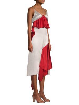 Silk Ruffle Slip Dress