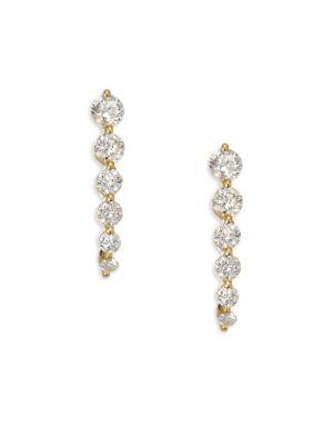 18K Gold & Diamond Graduated Cascade Earrings