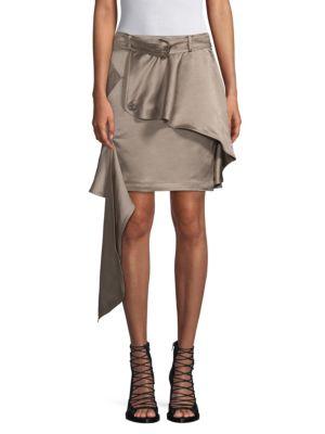 EACH X OTHER | Linen-Blend Asymmetric Khaki Mini Skirt | Goxip
