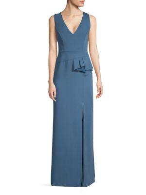 V-Neck Peplum Gown
