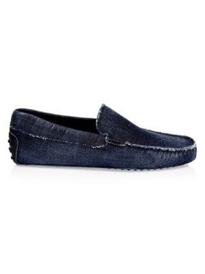 Distressed Denim Loafers