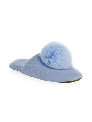 Cashmere & Fox Fur Pom-Pom Slippers