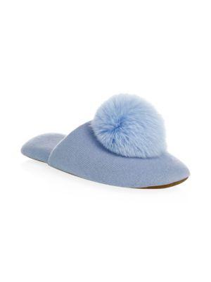 MINNIE ROSE Cashmere & Fox Fur Pom-Pom Slippers