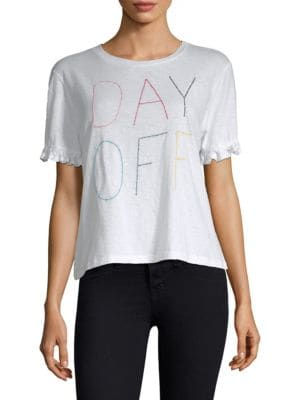 DAY OFF EMBROIDERED RUFFLED TEE