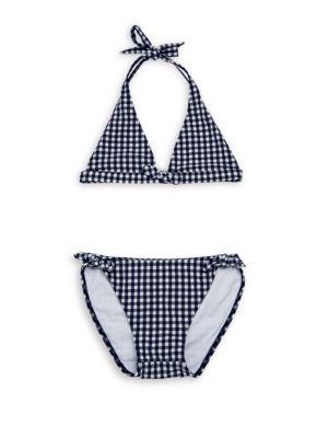 SHOSHANNA | Little Girl's & Girl's Two-Piece Gingham-Print Bow Bikini | Goxip