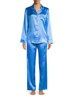 GINIA Contrast-Piping Silk Pajamas