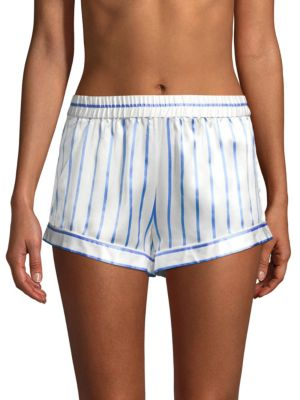 GINIA Striped Silk Shorts