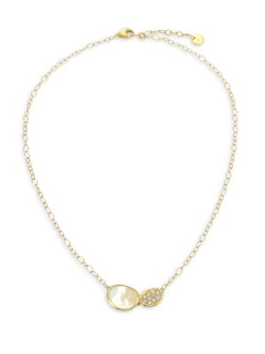 Lunaria White Mother-Of-Pearl, Diamond & 18K Yellow Gold Necklace