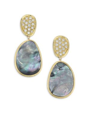Diamond Lunaria Double Drop Earrings With Black Mother-Of-Pearl