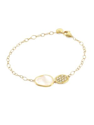 Mother-Of-Pearl, Diamond & 18K Yellow Gold Lunaria Bracelet