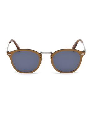 ERMENEGILDO ZEGNA | Leather & Metal Sunglasses | Goxip