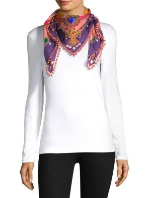 Silk Foulard Scarf With Pearls