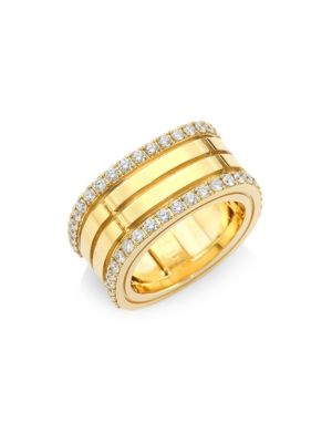 Portofino Diamond & 18K Yellow Gold Double-Row Band Ring