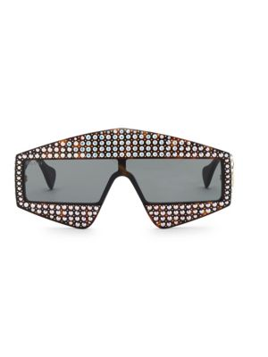 Fashion Show Dark Havana & Crystal Mask Sunglasses/99MM