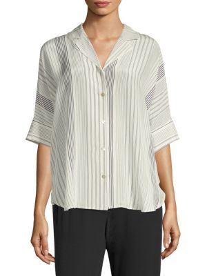 Classic Notch Collar Silk Button-Down Shirt