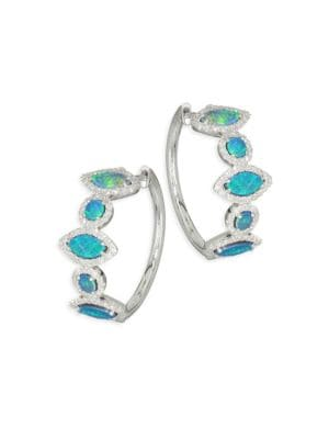 Pavé Diamond, Opal & 14K White Gold Hoop Earrings
