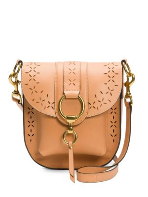 Ilana Tan Perforated Leather Saddle Bag