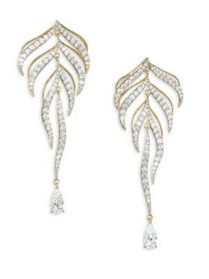 Pirouette Goldtone Crystal Leaf Drop Earrings