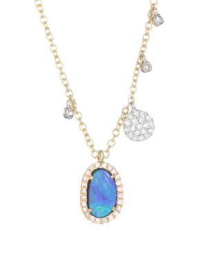 Diamond, Opal & 14K White & Yellow Gold Charm Necklace