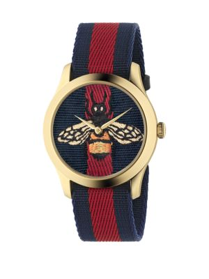 Bee Goldtone Stainless Steel and Striped Nylon Strap Watch