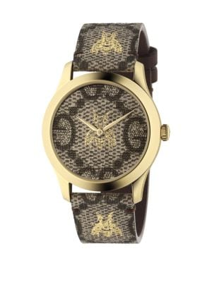 Embroidered Bee Goldtone Stainless Steel and Leather Strap Watch