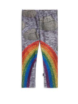 Little Girl's & Girl's Rainbow Crystal Leggings