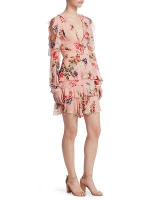 Lilac Floral Frill Mini Dress