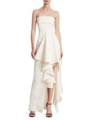 c8e060fdd3 SOLACE LONDON Aryana Strapless Ruffle Gown