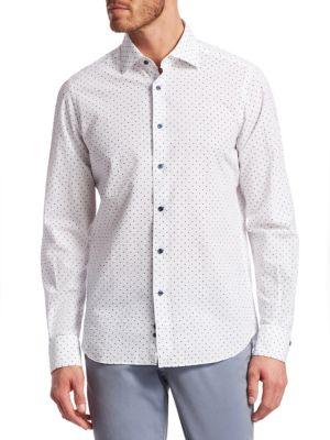 COLLECTION Seersucker Polka Dot Linen Woven Shirt