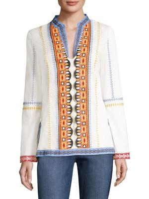 STEPHANIE EMBROIDERED COTTON-VOILE TUNIC