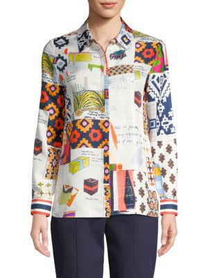 Sienna printed silk shirt Tory Burch Buy Cheap Latest Low Cost For Sale Discount 100% Authentic hihUeg
