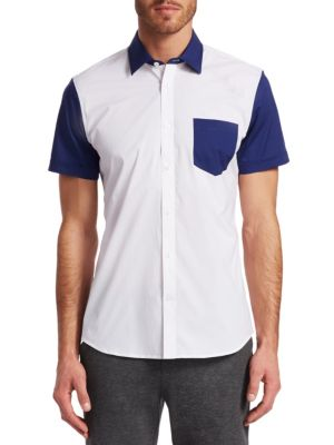 MODERN Colorblock Woven Button-Down Shirt