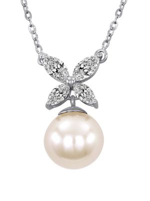8MM White Pearl, Cubic Zirconia and Sterling Silver Butterfly Necklace