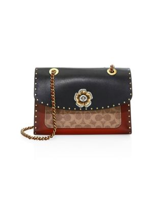 Parker Embellished Multi Print Leather Shoulder Bag by Coach