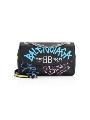 Graffiti Logo Leather Charm Shoulder Bag