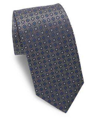 Silver Woven Medallion Silk Tie