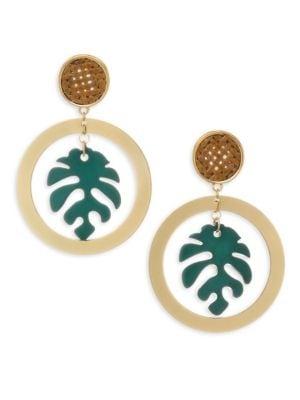 ETTIKA | Palm Leaf & 18K Goldplated Drop Hoop Earrings | Goxip