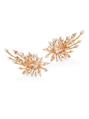 HUEB Luminus Morganite Rose Diamond & 18K Yellow Gold Post Earrings
