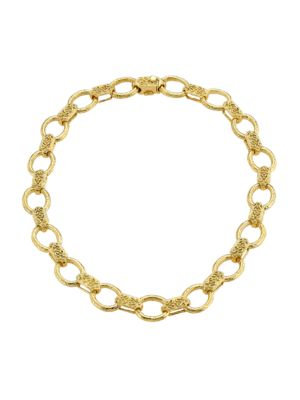 18K Yellow Gold Embossed Link Collar Necklace