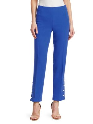 Wool Crepe Pants with Faux-Pearl Buttons