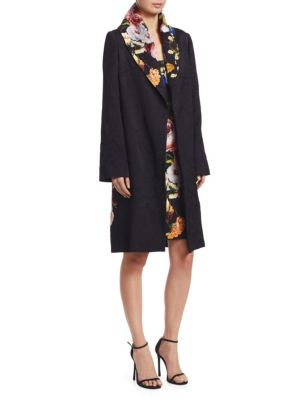 Long-Sleeve Floral-Print Trench Coat