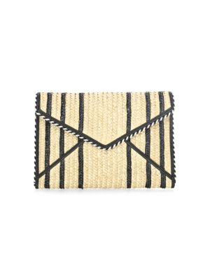LEO WOVEN STRAW CLUTCH - BLACK