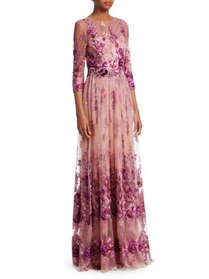 Floral Quarter-Sleeve Gown from Saks Fifth Avenue