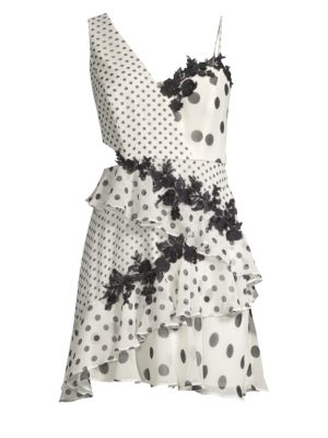 Polka Dot Asymmetrical Ruffle Dress