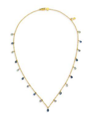 22K Gold & Blue Sapphire Necklace