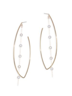 Sea Of Beauty Marquis 3MM Round Akoya Pearl & 14K Yellow Gold Hoop Earrings